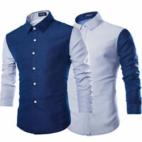 Fashion Mens Luxury Long Sleeve Casual Slim Fit Stylish Dress Shirts Blouse Tops