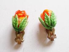 VINTAGE 1950's ORANGE & GREEN CELLULOID ROSE BUD OR TULIP FLOWER EARRINGS
