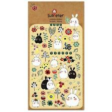 CUTE BONNY STICKERS Bunny Rabbit Kawaii Papar Sticker Sheet Craft Scrapbook Seal