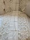"Chic European Antique 1900's Cream Tuscan Crochet Lace Runner 40"" Long"