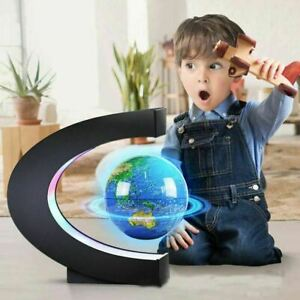 4'' Colorful Light Floating Magnetic Globe Levitation Rotating Earth w/World Map
