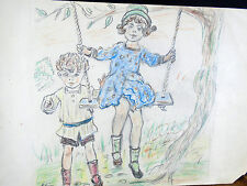 Lovely Color Pencil Drawing Children Playing on Garden Tree Swing 1940s Original