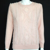 J. CREW Millennial Pink Cable Knit Fringe Wool Sweater size Medium /6980