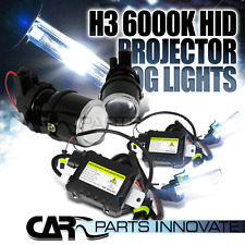 H3 Clear Glass Lens Projector Fog Lights Driving Lamp+6000K HID Conversion Kit