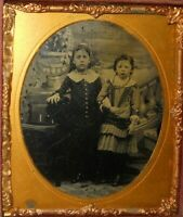 Two young siblings 1/6th size Tintype and half case