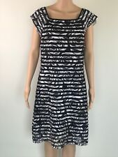 Hibiscus and Sparrow Womens Dress Black and White Stretch Size 12 Banded