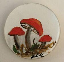 Painted Pearl Mushroom Toadstool Vintage Studio Button Medium