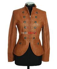 Scarlett Ladies Military Parade Jacket Tan Women's Studded Napa Leather Jacket