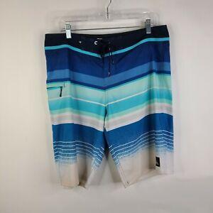 Quiksilver Boardshorts Contrast Stripe Caribbean Blue Swim Trunks Size 34