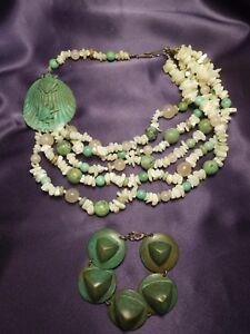 Vintage Beaded Frog Lily Pad Necklace & Bracelet Set-Rose Quartz, Copper, Stone