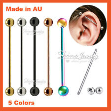 14G Titanium Industrial Bars Barbell Ear Earring Cartilage Tongue Ring Piercing