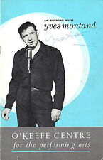 An Evening with YVES MONTAND (Signed) Bob Castella 1962 Toronto, Canada Playbill