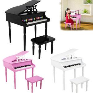 Kids Children 30 Keys Mini Wooden Paint Piano Keyboard w/ Stool ,Music Score