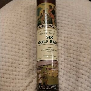 St Andrews - 6 brand new golf balls in cardboard tube, with St Andrews crest.