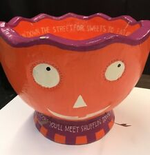 Halloween Pumpkin Candy Bowl Vintage Style 'Many spooks You'll meet. paper mache