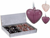 Real Glass Purple Heart Christmas Tree Decorations Glass Christmas Baubles
