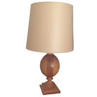 Grande Lampe à poser en bois pied de lampe bille de bois VERDIERE ARTDÉCO  H51cm