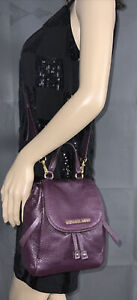 Michael Kors Viv Extra-Small Pebbled Leather Convertible Backpack Purple