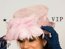 Beautiful baby pink feather formal hat MOB Wedding Races Ascot ladies day