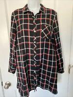 J Jill Black Plaid Long Button Tunic Blouse POCKETS! Long Sleeve Sz Medium