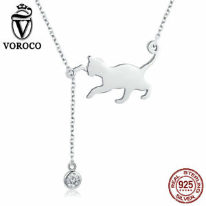 VOROCO 925 Silver Playful Kitten Pendant Necklace With A Dangle AAA CZ Charms