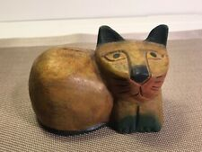 Hand Carved -Hand Painted Wood Wooden Cat Laying Down Cat