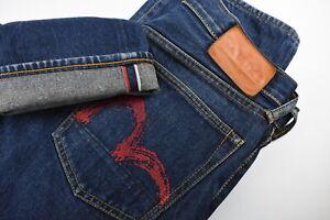 EVISU SELVAGE Men's W30 L33 Rigid Regular Fit Blue Painted Jeans 36919-GS