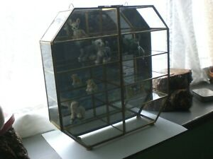 Vintage Small Brass Glass Display Cabinet with  Doors