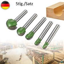 5 Tlg Holzbearbeitung-Kugelfräser Hohlkehlfräser Schaft Nutfräser Oberfräse 6mm