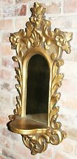 Vintage Hollywood Regency Style Gold Gilded Plaster Wall Mirror With Shelf