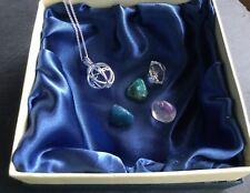 Silver 925 Pendant Herkimer Diamond Brandenberg Apatite Gift April Birthstone