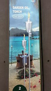 "2Pack Garden Lantern 59""(150cm) Stainless Steel Tiki Torches Oil Lamp Patio Yard"