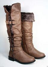 Women's Winter Warm Faux Fur Flat Cuff Knee High Boot Shoes Size 6 - 10 NEW