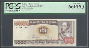 Bolivia 5000 Pesos Bolivianos D.1984 P168a Uncirculated Graded 66