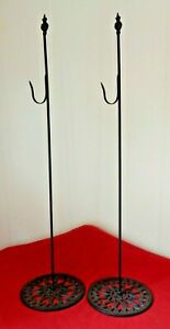 """PAIR OF WREATH HOOK STANDS - 36"""" Free Standing Wrought Iron Holders Hangers"""
