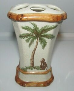 Vintage Spring Maid Palm Tree Bamboo Design Ceramic Toothbrush Toothpaste Holder