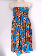 Free Size 12 14 16 18 20 Blue Brown Green Cotton Maxi Skirt Dress NWOT