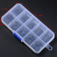 500pcs Assorted Sharpened Metal Fishing Hooks Tackle Lures Baits 10Size+Box、 ME