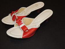 1950's Red / White Singora Barci Plastic Mules / Sandals Sz 7 - 7 1/2 B