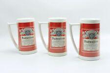 Vintage Budweiser Label Design Plastic Stein Cup Mug Set West Bend Thermo-Serv