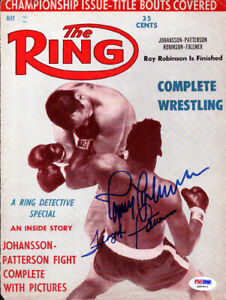 Ingemar Johansson & Patterson Autographed The Ring Magazine Cover PSA Q95603