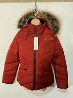 BNWT WOMENS ASDA GEORGE UK8-10 SMALL RED CASUAL PADDED PUFFER HOODED WINTER COAT