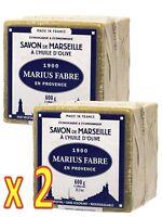 Marius Fabre - SAVON DE MARSEILLE à l'Huile d'Olive Cube de 600 Gr - Lot de 2