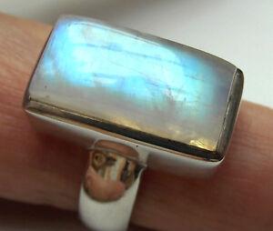 Weißer Labradorit-Ring, 925er Sil., Gr.56