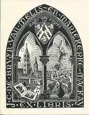 ORIGINAL PRINT MC ESCHER Bookplate J.C. de Bruyn 1946 White Paper