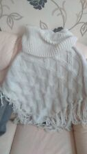 cream chunky cable knit cowl neck cape poncho with tassle size m/l new with tags