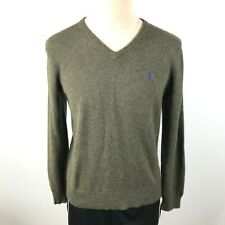 Vintage Polo Ralph Lauren Mens M Lambswool Green V Neck Pullover Sweater
