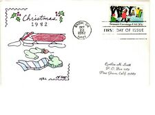 #2029 Anon E. Mouse Cachets Cynthia Scott Christmas Hand Colored Cachet