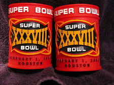 TWO Super Bowl XXXVIII (38) Red Rubber Drink Koozies - Houston Texas Feb 1, 2004