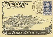 CP MAXIMUM JOURNEE DU TIMBRE 1953 NICE LE CHATEAU XVI S